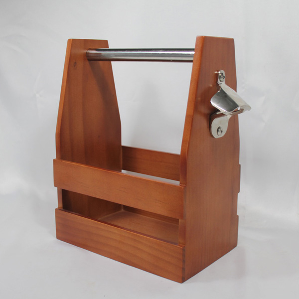 Wood Caddy With Bottle Opener